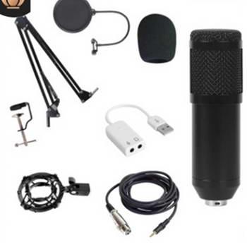 CONJUNTO MICROFONE CONDENSADOR XLR + USB ADAP+STAND+FILTRO