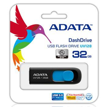 FLASH MEMORY 32GB USB3.0 ADATA UV128 BLACK/BLUE