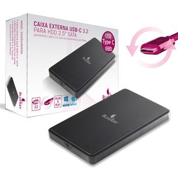 CAIXA EXTERNA P/ DISCO RIGIDO 2.5 SATA USB C 3.2 5GB BLUERAY