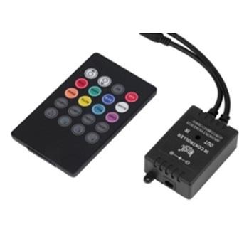 CONTROLADOR MUSICAL LEDS RGB IR COM 20 BOTOES, 12V EM PRETO