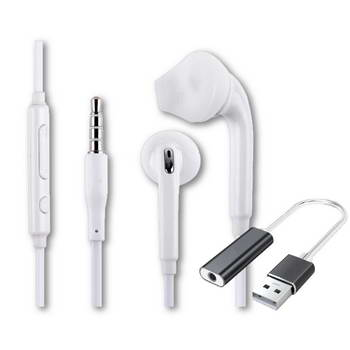 EARPHONES & MIC -S6 S7, XIAOMI, VOL CON, WHITE, USB TIPO A