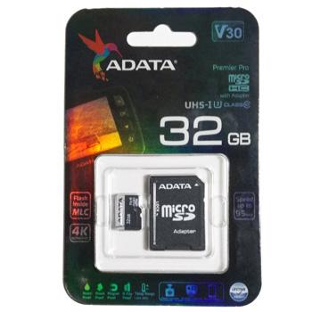MICRO SDHC 32GB U3 CLASS 10 V30 ADATA C/ ADAPTADOR SD