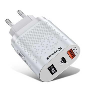 CARREGADOR / ALIMENTADOR USB TIPO C + USB A QC + PD 20W WH